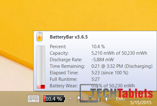 Battery life 5 hrs 34