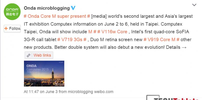 Onda Core M iPad Clone v919 showing at Computex
