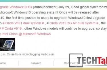 Onda's Windows 10 upgrade plans announced