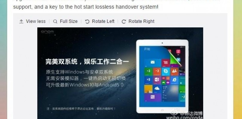 Onda V919 3G Core M, To Ship With Win 8.1. Dual Boot Win 10 And Android 5 Coming