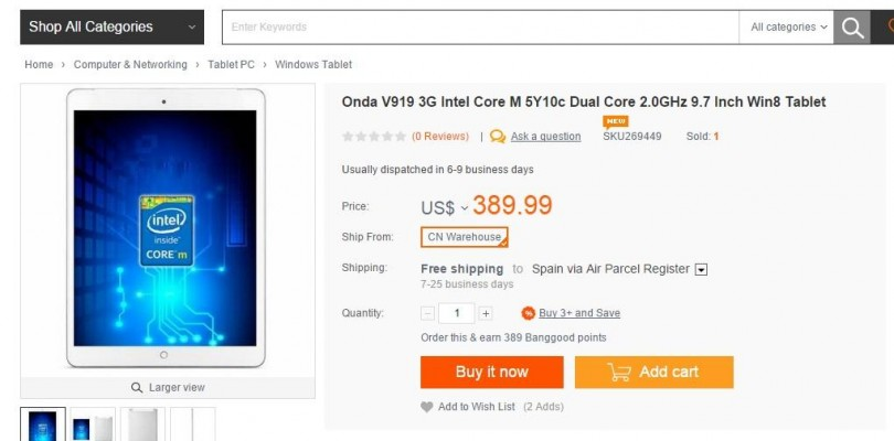 Onda v919 3G Core M now in-stock and selling for $370