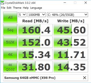 Teclast X98 Pro eMMC benchmark