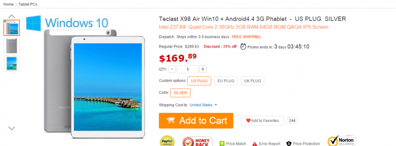 [Updated] Daily Deals: Teclast X98 Air 3G 64GB For Only $179 Flash Sale