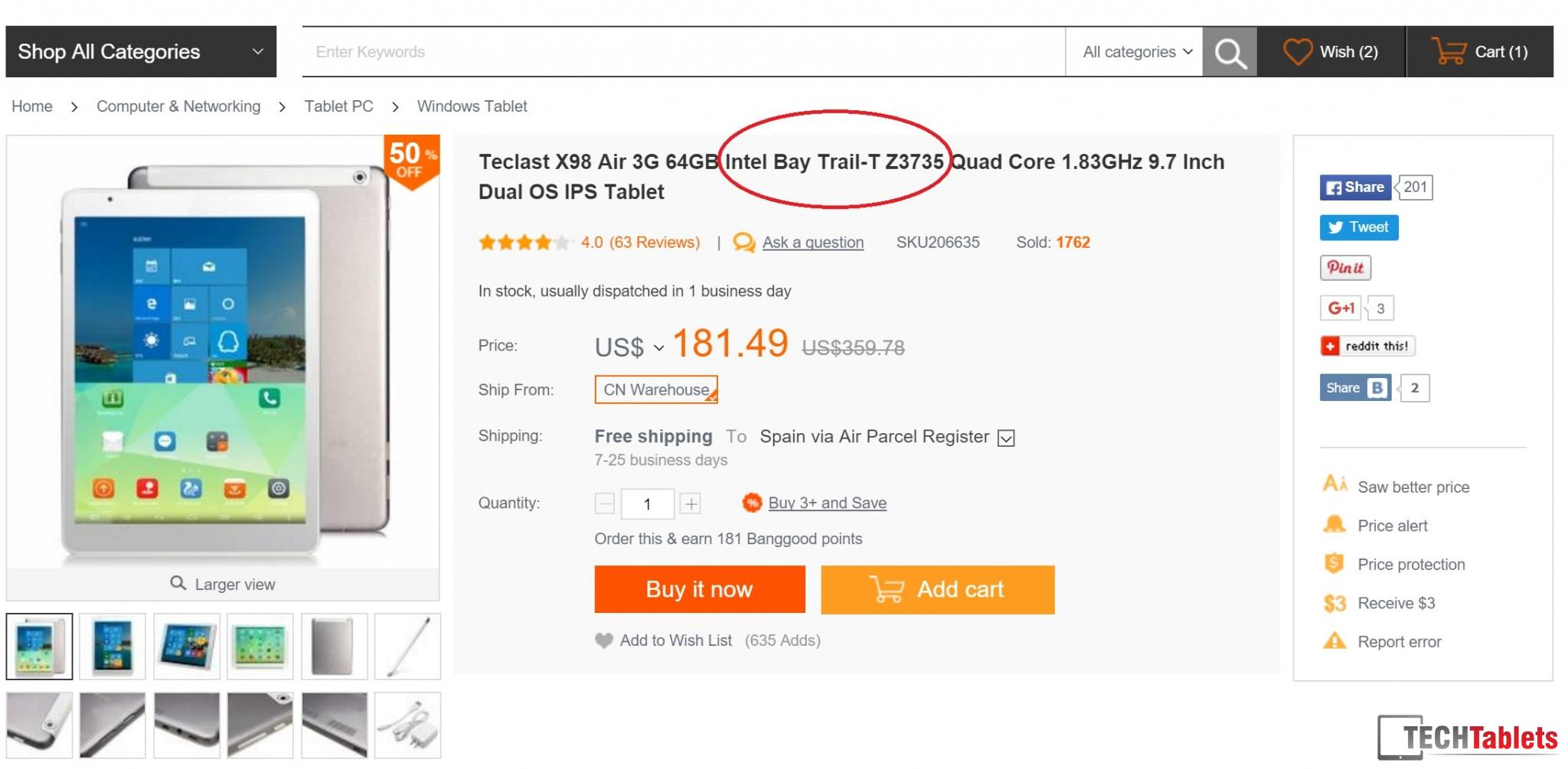 Teclast X98 Air 3G Atom Z3735F