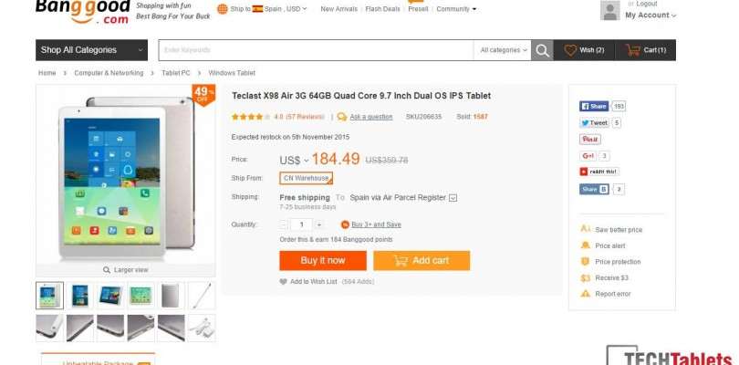 Deals: Teclast X98 Air 3G 64GB for $171