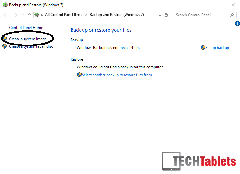 create a system image back up