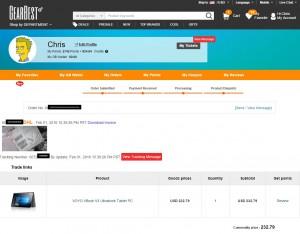 My Gearbest Voyo vBook Order order