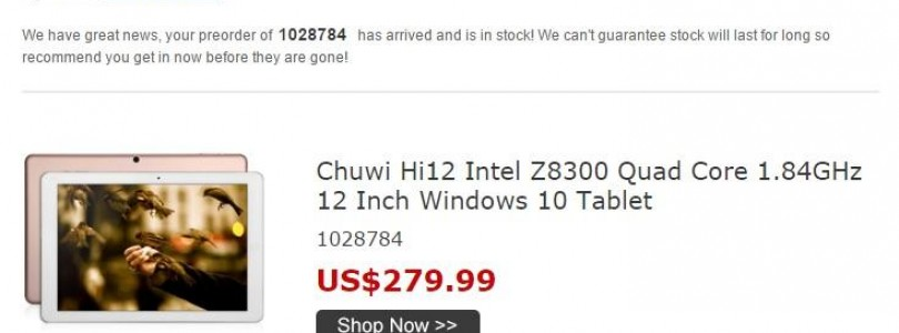 Chuwi Hi12 2160 x 1440p Atom X5 Tablet Now in Stock At BG