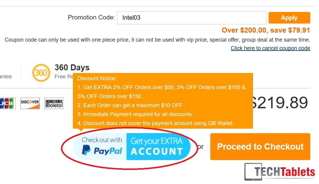 1. Paypal extra discount