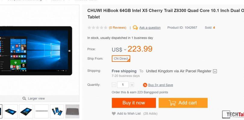 Now Shipping: Chuwi HiBook 10.1″ Dual OS 2 in 1.