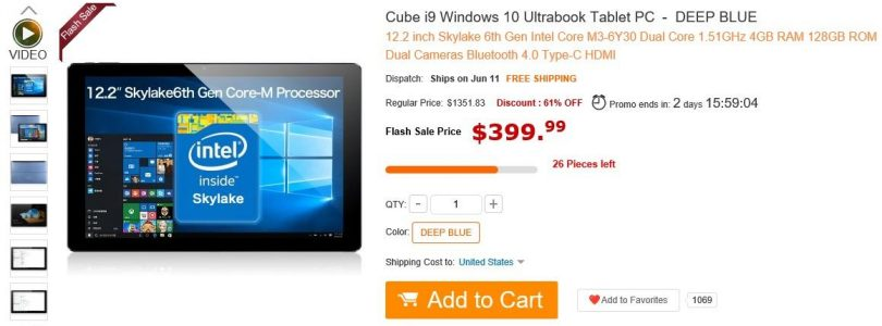 Cube i9 Core M3 $399 Flash Sale