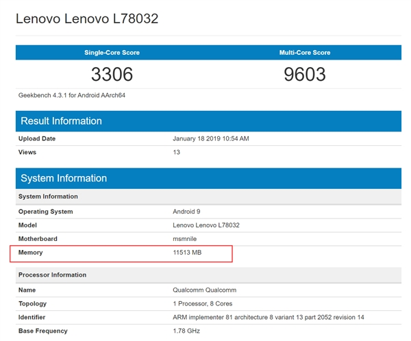 Lenovo Z5 Pro GT Caught on GeekBench, Packs 12GB of RAM