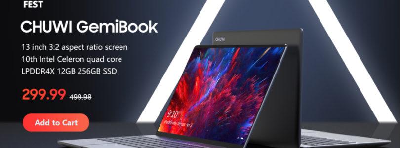 Chuwi Gemibook $299 13″ 2k, Celeron J4115, 12GB + 256GB SSD Laptop
